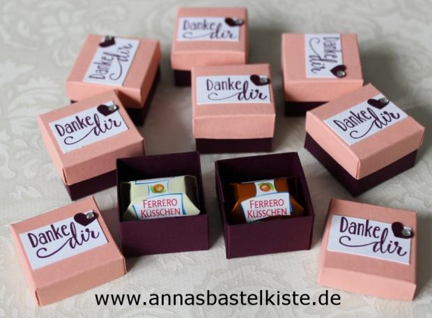 Gastgeschenk mini Ferrero-Küsschen Verpackung Stampin Up