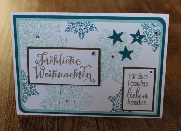 Weihnachtskarte Stampin Up Schneeflocke petrol