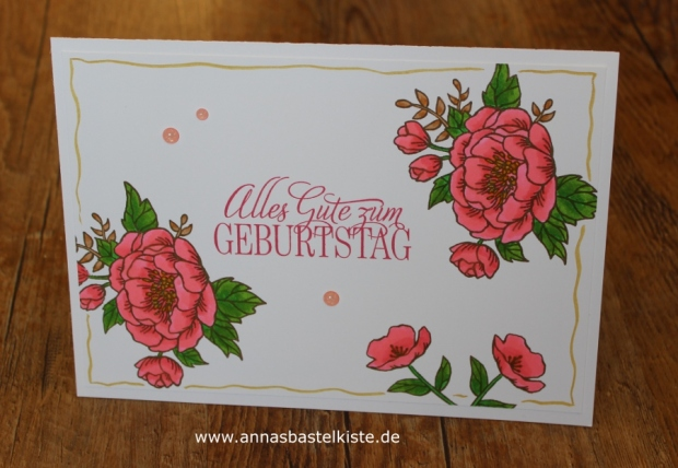 Geburtstagskarte Geburtstagsblumen Stampin Up ZIG Clean Color Brush Pen