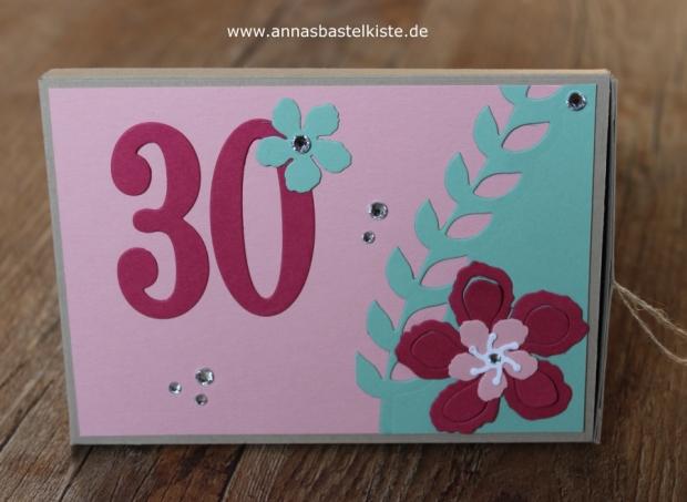 Schachtel Geldgeschenk 30. Geburtstag Stampin Up