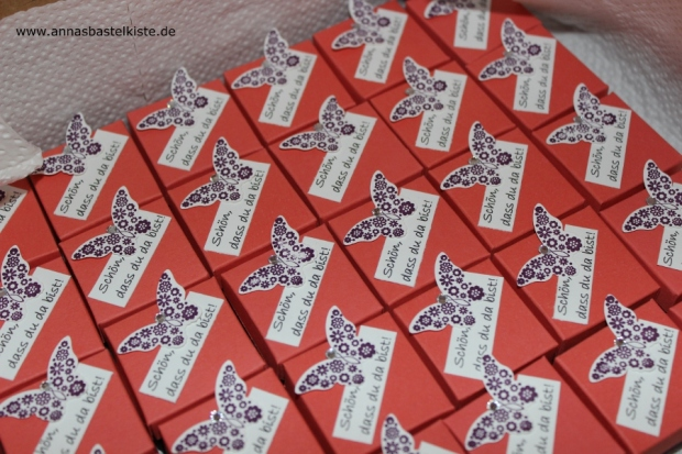 Gastgeschenk Hochzeit mini Ferrero Küsschen Schachtel Stampin Up