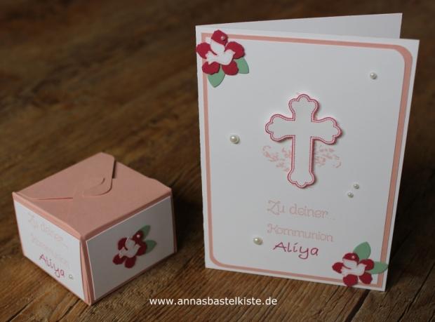 Geschenkset Set Karte Verpackung Geldgeschenk Kommunion Mädchen Stampin Up