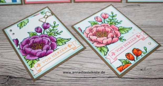 Geburtstagsblumen birthday flowers ZIG Real Brush Stampin Up Dankeskarte Grußkarte