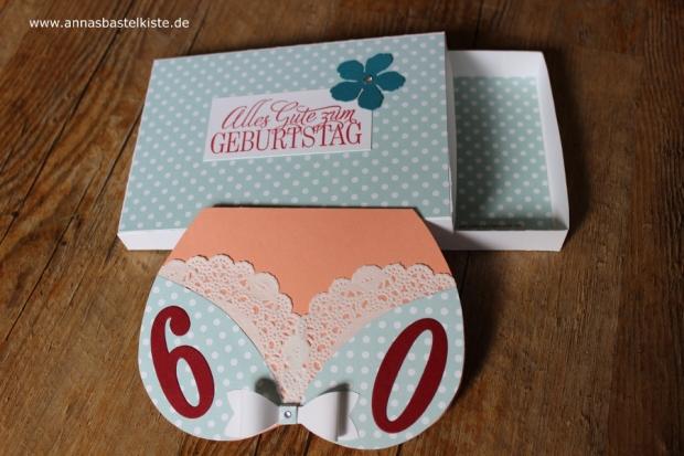 Bikinikarte 60. Geburtstag Stampin Up Verpackung