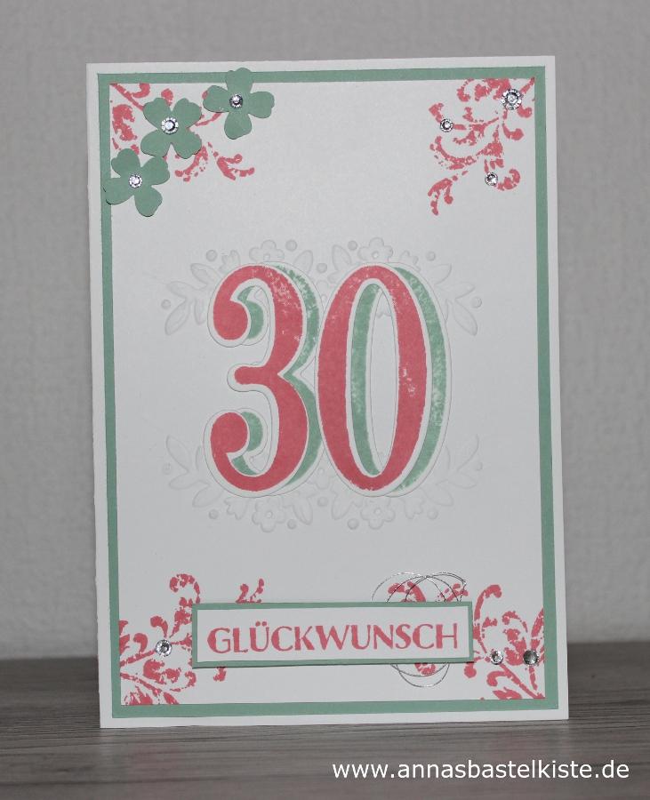 Gluckwunschkarte Zum Doppel 30 Geburtstag Annasbastelkiste