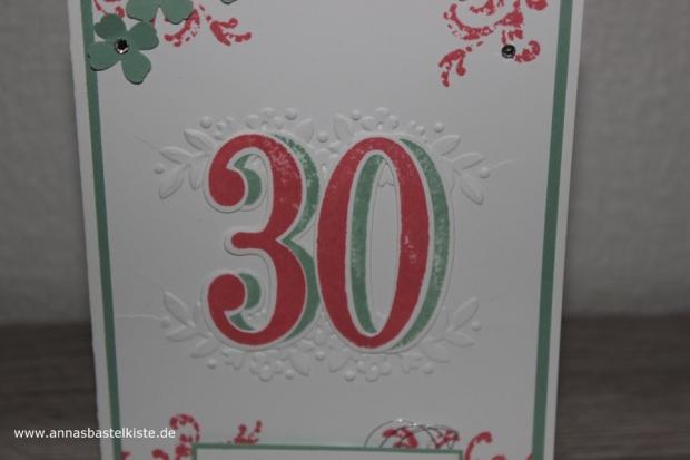Glückwunschkarte 30. Geburtstag Timeless Textures Big Shot Stampin Up
