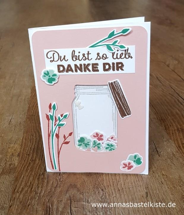 Dankeskarte Schüttelkarte Glasklare Grüße Stampin Up