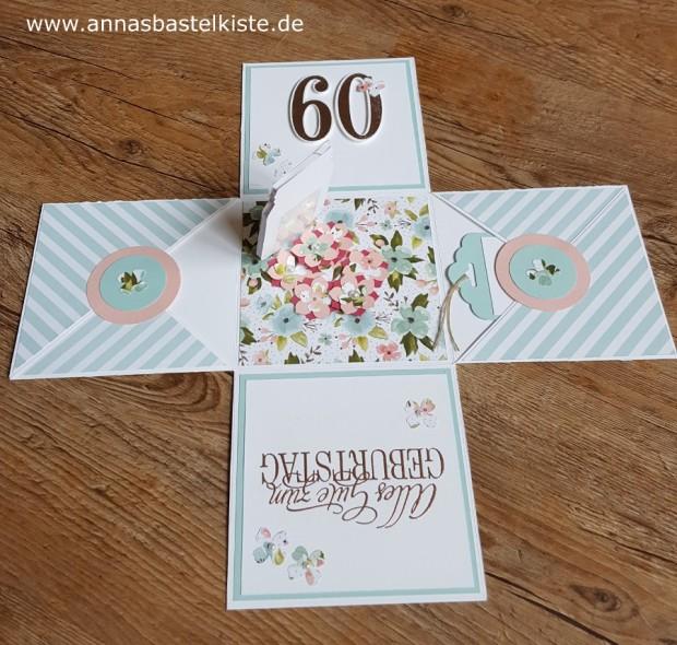 Explosionsbox 60. Geburtstag Stampin´ Up! Glasklare Grüße