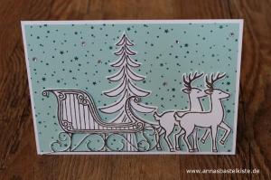 Weihnachtskarte Weihnachtsschlitten Rentier Stampin Up