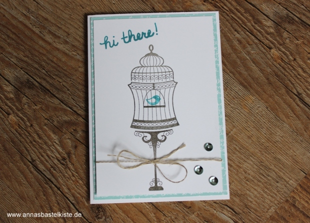 Vintage Grußkarte Stampin Up Builder Birdcage