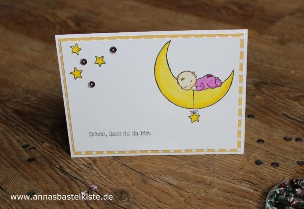 Babykarte Geburt Moon Baby Stampin Up