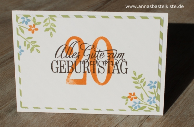Karte zum 20. Geburtstag birthday Gutschein Stampin Up